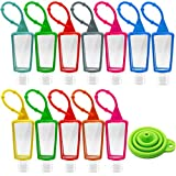 Trifoot 12 Pack Hand Sanitizer Holder Silicone Keychain, Mothers Day Gifts, 30ml/1oz Portable Refillable Empty Container for Costmetic, Perfume,Essential Oil,Hand Sanitizer,Liquid with Silicone Keychain