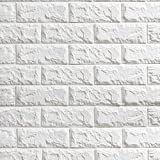Brick Wall Panels (50Pcs) Peel and Stick Wallpaper Faux Stone Textured 3D Foam Wallpaper Tiles White for Livingroom Bedroom TV Background Home Decor DIY – 291 sq.Feet & 1pcs Utility Knife