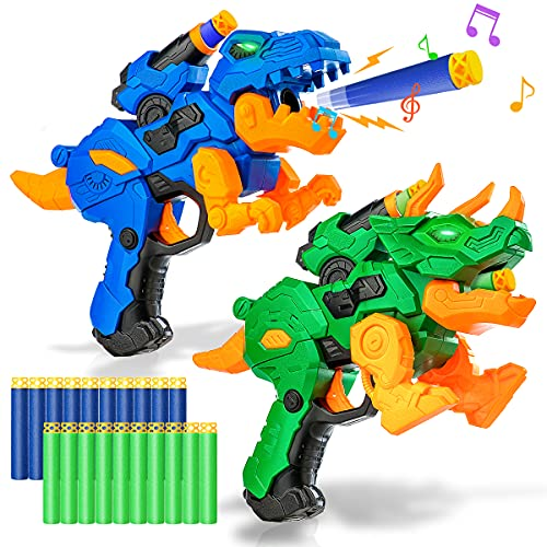 2 Pack Electric Blaster Guns Toy for Boys-Transforming Dinosaur Toys Gifts with 20 Foam Bullets Darts for Nerf Party Supplies-Hand Guns Set with Led Light for 4,5,6,7,8 Years Old Kids