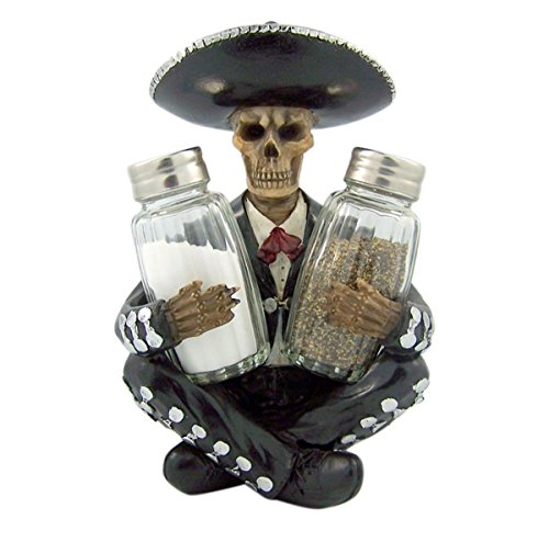 "DWK ""Los Muertos Fiesta"" Mariachi Skeleton Spice Holder with Salt and Pepper Shaker Set (3 Piece) 