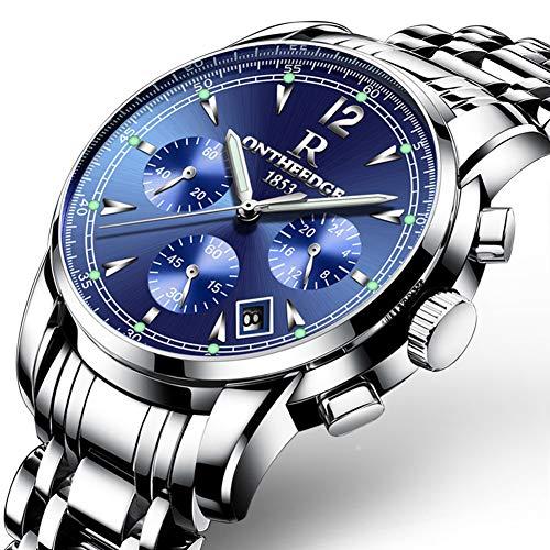 Reloj de cuarzo para hombre, reloj multifunción de acero con luz, calendario, cronógrafo, resistente al agua, correa de acero, reloj de negocios, seis colores en blanco y azul