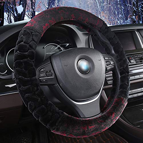 Couverture De Volant De Voiture Chaud Doux Peluche Enjoliveur De Roue Respirant Confortable Four Seasons Universal -37-39Cm,Black