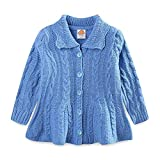 LittleSpring Little Girls Knit Cable Sweater Cardigan Button Down Blue Size 7-8