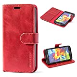 Mulbess Handyhülle für Samsung Galaxy S5 Hülle, Leder Flip Hülle Schutzhülle für Samsung Galaxy S5 Neo Tasche, Wein Rot