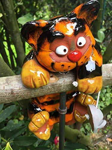 Keramik Gartenstecker Gartenkugel Blumenstecker Beetstecker Katze mit Maus 20 cm frostfest