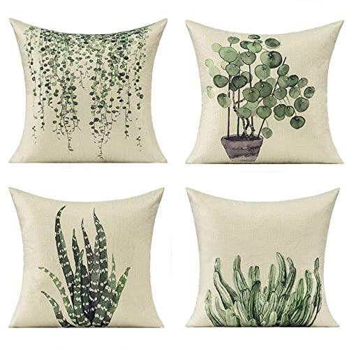 Fundas de almohada para muebles de patio, verano, primavera, suculenta, verde, decoración de romm terrosa, 4 x 45 cm, juego de 4 sofás