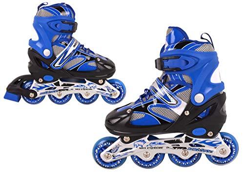 Nils Extreme inlineskates Kinder verstellbar Rollschuhe Schlittschuhe # 2in1 Inline Skates (Blau, M(35-38))