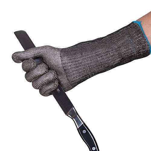 ThreeH Los guantes protectores alargan la manga de acero inoxidable 316L de 14 pulgadas para cortar,...