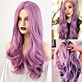 HAIRCUBE Pelucas Onduladas Largas Pelucas de Color Rosa Púrpura para Mujeres Peluca de Pelo Sintético para Fiestas