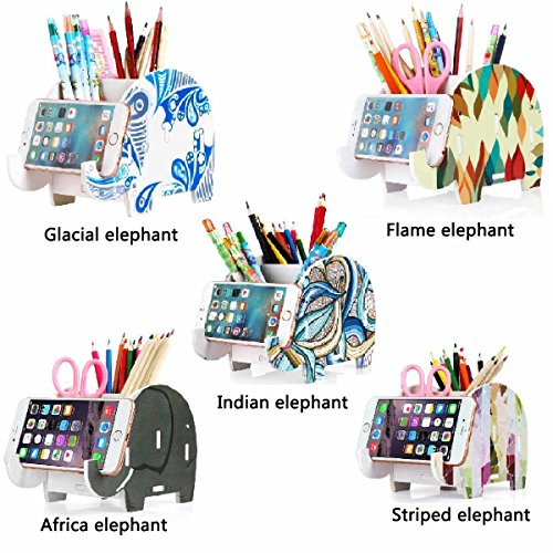 COOLBROS Elephant Pencil Holder With Phone Holder Desk Organizer Desktop Pen Pencil Mobile Phone Bracket Stand Storage Pot Holder Container Stationery Box Organizer (Indian elephan) Photo #5