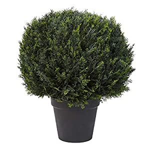 "Home Pure Garden Artificial Cypress Topiary-23"" Ball Style Faux Plant in Sturdy Realistic Indoor or Outdoor Potted Shrub Décor"