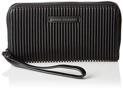 Armani Exchange - Fabric Round Zip, Carteras de mano con asa Mujer, Negro (Black), 10.1x2.5x19 cm (B x H T)