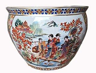 Oriental Furnishings Chinese Porcelain Fishbowl Planters in Satsuma Geishas (12