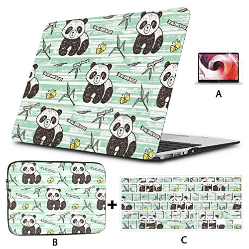Macbook Air 2017 Case Cute Baby Panda With Bamboo Vector Seamless Patter Macbook Laptop Cover Hard Shell Mac Air 11'/13' Pro 13'/15'/16' With Notebook Sleeve Bag For Macbook 2008-2020 Version
