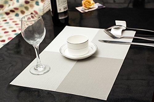 Tischset Platzset Clest F&H Kreuzgitter weiß Platzmatte gewebt aus Kunststoff 45x30 cm(2er Set)