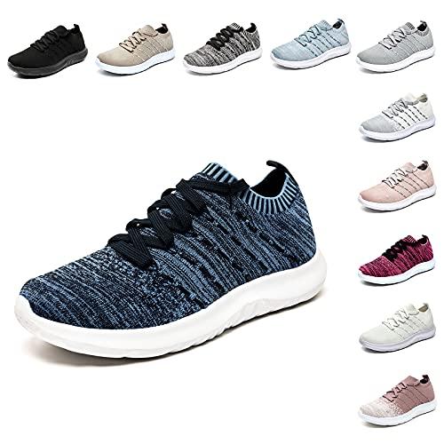 Scarpe da Ginnastica Donna Sportive Scarpe Corsa Running Comode Leggero Fitness Sneaker Basse GymOutdoor Nero-Blu Taglia EU 37