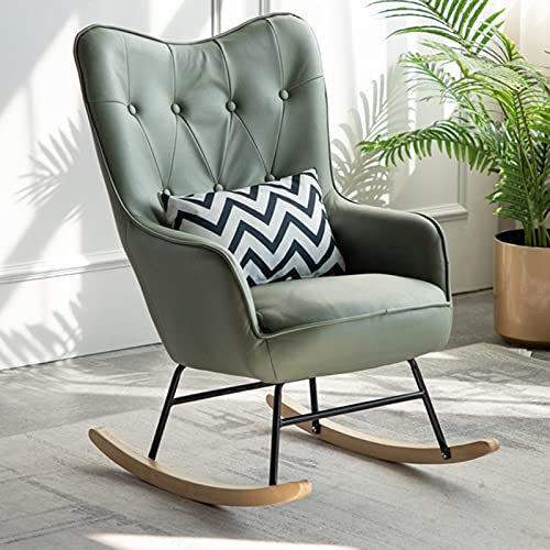 LXBH Mecedora para adultos, siesta, tiempo libre, mecedora con reposapiés, sillón de salón, balcón, salón, dormitorio, hogar, pequeño hogar, con cojín verde
