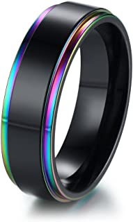 XUANPAI Stainless Steel Rainbow Edge Domed Weeding Ring Engagement Band for LGBTQ Couple Pride...