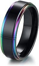 MPRAINBOW 8mm Rainbow Blank Stainless Steel Ring Black,Wedding, Promise