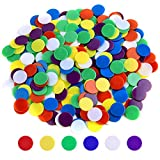 Coopay 900 Pieces Counters Counting Chips Plastic Markers Mixed Colors for Bingo Chips Game Tokens, Contain White, Blue, Green, Yellow, Red, Purple Colors