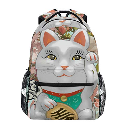 Japanese Maneki Neko Figurine School Backpack Large Capacity Canvas Rucksack Satchel Casual Travel Daypack for Children Adult Teen Women Men