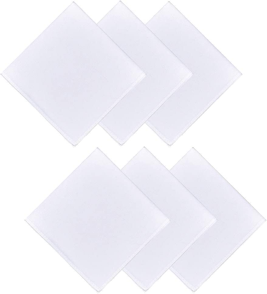 6 Packs Men's White Pure Cotton Basic Handkerchief Hankies, Pocket Square