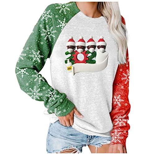2020 Top Manica Lunga Girocollo Natalizio Casual da Donna Felpa Autunno E Inverno Stampa di Natale Caldo Maglione Moda Sweat Pullover Taglia Larga S-3Xl