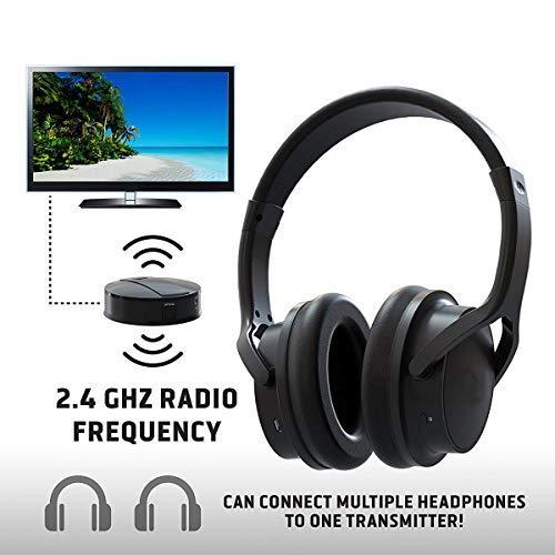 Auriculares de TV recargables inalámbricos- Conexión RF, 2.4 GHz, Transmite de manera inalámbrica hasta 100 pies, No se requiere Bluetooth, AUX, RCA, Cable óptico incluido