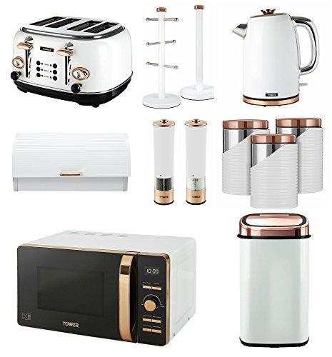 Tower Rose Gold & White Set of 12-58L Sensor Bin, Digital 20L Microwave, 1.7L Jug Kettle, 4 Slice Toaster, Bread bin, 3 Canisters, Towel Pole, 6 Mug Tree, Electric Salt & Pepper Mill