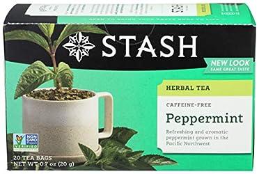 Stash Tea Peppermint Herbal Tea, 20 Tea Bags Per Box, Premium Herbal Tisane, Minty Refreshing Herbal