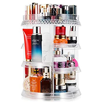 MISERWE Makeup Organizer 360 Degree Rotation 7 Layers Adjustable Storage Different Kinds of Cosmetics Multi-Function Large Capacity Makeup Storage Organizer Great for Bathroom Dresser Vanity
