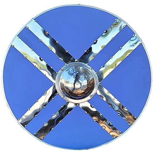 Swordsaxe Handmade Scottish Celtic Warrior Medieval Steel Boss Cross Holy Shield Wooden Leather Wrap