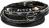 styleBREAKER Wickelarmband mit Strass, Perlen, Flechtelement und Anker Anhänger, Magnetverschluss, Metallic Armband, Damen 05040078, Farbe:Schwarz