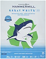 Hammermill用紙、Greatホワイト30%リサイクルコピー用紙、20lb、8.5X 11、92明るい、500シート/ 1Ream (086700、Made in the USA