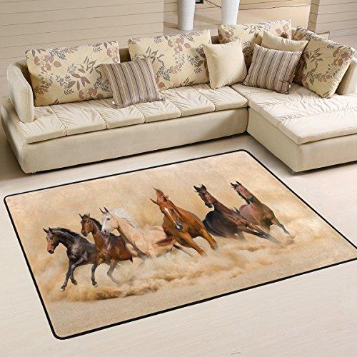 ALAZA Non Slip Area Rug Home Decor, Horse Herd Running Desert Durable Floor Mat Living Room Bedroom Carpets Doormats 72 x 48 inches