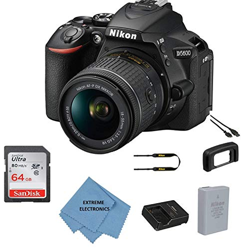 Nikon D5600 w/AF-P DX NIKKOR 18-55mm f/3.5-5.6G VR + 64GB Memory Bundle