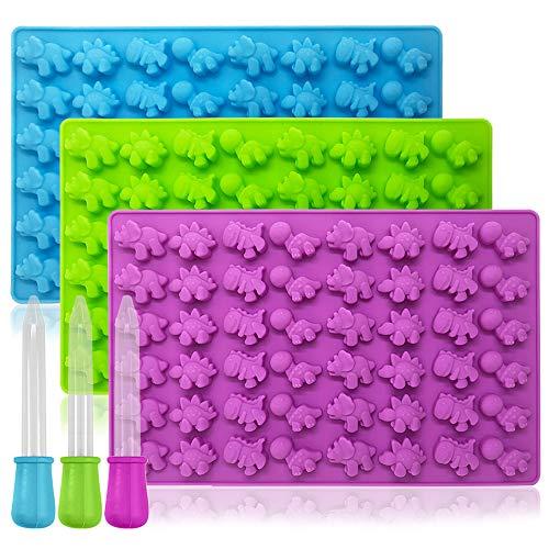 YuCool Dinosaurier-Formen für Süßigkeiten, Schokolade, Gelee, Eiswürfel 3 Farben x 48 Hohlräume.