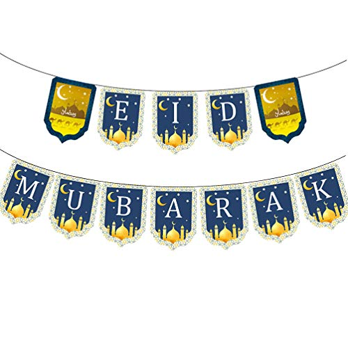 Amosfun 2 Sets Ramadan Vlag Letter afdrukken EID Mubarak Bunting Party benodigdheden Layout Props slinger voor Ramadan Party
