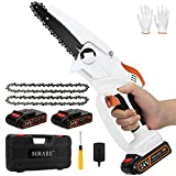 Mini Chainsaw 6 Inch,Cordless Power Chain Saws,Portable 24V Electric Chainsaw,2.7Lb One-Hand Use Electric Chainsaw, Household Small Handheld Electric Saw for Wood Cutting, Tree Pruning and Gardening