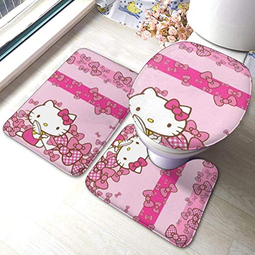 Badematten-Set, 3-teilig, Flanellteppich, rutschfeste Unterseite, Badematten für Badezimmer, Schlafzimmer, Küche, Bow-Knot Hello Kitty (61 x 40,6 cm)