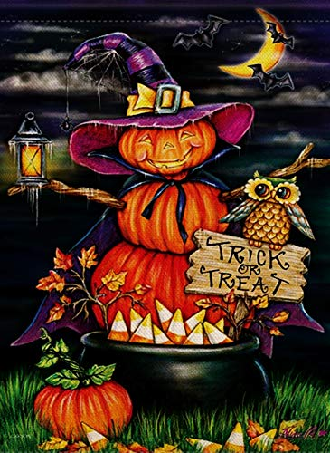 Dyrenson Home Decorative Halloween Garden Flag Pumpkin Double Sided, Trick or Treat Quote House Yard Flag Scarecrow, Outside Funny Owl Garden Yard Decorations, Seasonal Outdoor Flag 12 x 18 Holiday