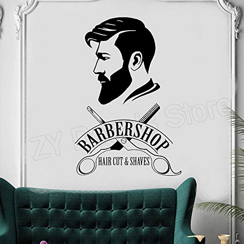 zxddzl Logo de barbería, Vinilo Decorativo, calcomanías, vinilos Decorativos, vinilos Decorativos para Ventanas, vinilos para peluquería, peluquería, Fondos de Pantalla, 56X84CM