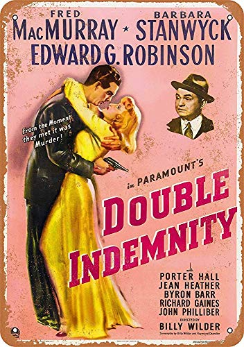 Home Decor Poster 16'x12',1944 Double Indemnity MacMurray Stanwyck,Art Poster,Metal Logo
