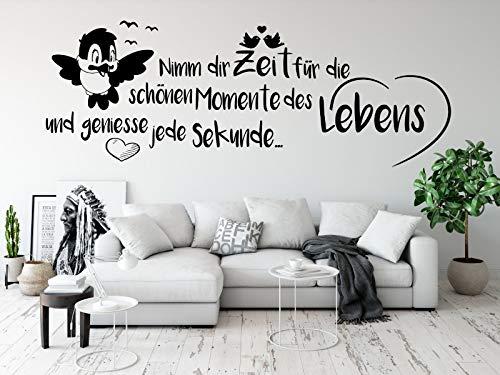 tjapalo® pk224 Wandtattoo nimm dir Zeit für die schönen Momente wandtattoo wohnzimmer spruch zitate Wandsticker Flur und Diele, Farbe: Schwarz, Größe: B100xH37cm