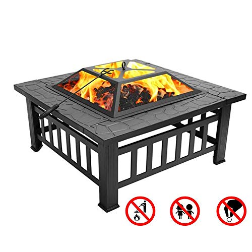 Fantastic Deal! JIN GUI Steel Outdoor Fire Pits, 32 Patio Burning Fireplace Square Garden Stove Tab...