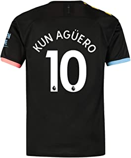 LAPINLE Manchester City 2019-2020 New Season 10 KUN Aguero Away Mens Soccer Jersey Color Black