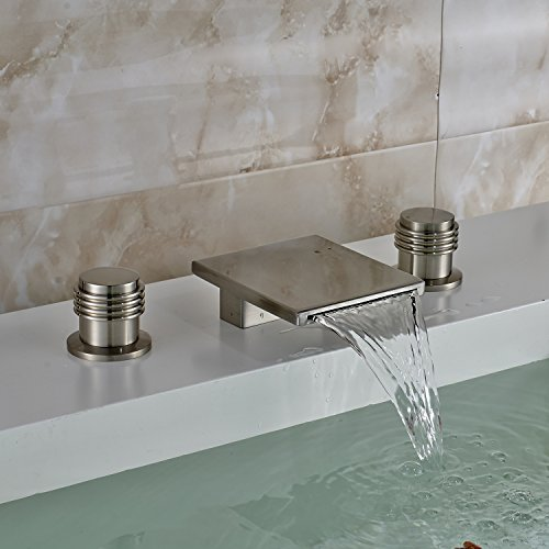 Oulantron Deck Mount 3pcs Bathtub Faucet Waterfall Spout Two Knobs Sink Mixer Tap Brushed Nickel Finish