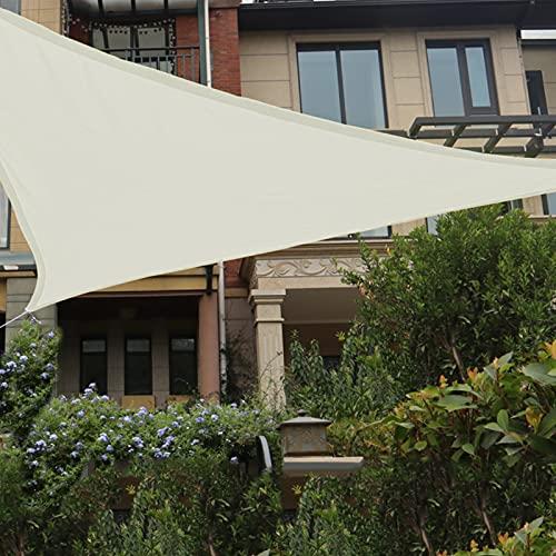 HAIKUS Voile d'ombrage Imperméable Triangulaire 5x5x5 5m, Toile Ombrage Triangle dombrage 5x5 résistant à l'eau Protection Rayons UV pour Jardin Terrasse 5x5x5m, Crème/Beige