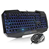Beastron gaming keyboard and mouse combo,LED 104 Keys USB Ergonomic Wrist Rest Computer Keyboard USB Wired for Windows PC Gamers