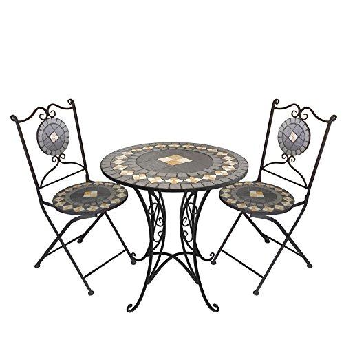 3tlg. Mosaik Sitzgarnitur Gartengarnitur Terrassenmöbel Sitzgruppe Balkonmöbel 2X Klappstuhl Mosaiktisch Ø70cm